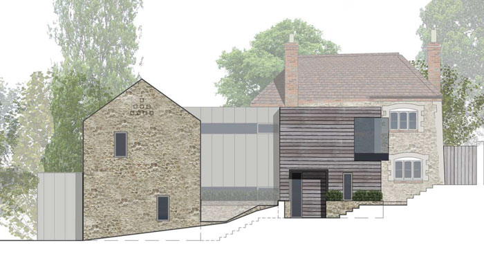 contemporary extension to a listed building
